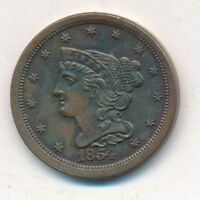 1854 BRAIDED HAIR COPPER HALF CENT-MAGNIFICENT UNCIRCULATED COIN-SHIPS FREE