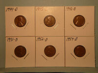 1944,1945,1946 ALL D & 1951,1952,1954 ALL D WHEAT-BACK LINCOLN 1 COINS