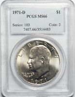 1971 D $1 EISENHOWER IKE DOLLAR PCGS MINT STATE 66