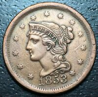 1853 BRAIDED HAIR LARGE CENT --  MAKE US AN OFFER  Y8591