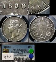 Click now to see the BUY IT NOW Price! ELITE COINS   25 CENTS   1880H NARROW / WIDE 0 A/V   EF PCGS  LX098