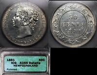 Click now to see the BUY IT NOW Price! ELITE COINS   NEWFOUNDLAND 50 CENTS 1881H   AU55 BOOK $3000  LX125