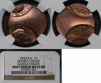 FREE SHIP USA ERROR   LINCOLN CENT DOUBLE STRUCK SADDLE STRUCK   NGC MS63  O030