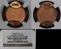 FREE SHIP USA ERROR   LINCOLN CENT NO DATE DOUBLE STRUCK SADDLE NGC MS65  O039