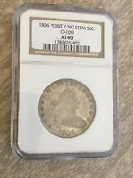 1806 HALF DOLLAR POINT 6 NO STEM OVERTON 0-109 NGC EXTRA FINE  40