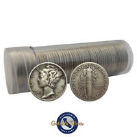 $5 FACE VALUE MERCURY DIMES 90  SILVER 50 COIN ROLL  CIRCULATED