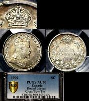 MARCH MADNESS   CANADA 5 CENTS   1909 CROSS OVER BOW TIE AU50 TOP PCGS   LX066