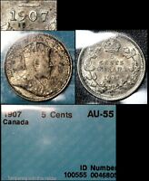 MARCH MADNESS   CANADA 5 CENTS   1907 LOW 7   WOW AU55   F303