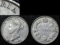 MARCH MADNESS   CANADA 25 CENTS   1872H REPUNCHED A VICTORIA   VF  G25