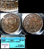 MARCH MADNESS   CANADA LARGE CENT   1859 REPUNCHED N  HAXBY7   N034B