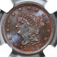 1853 C-1 NGC MINT STATE 66 BN BRAIDED HAIR HALF CENT COIN 1/2C