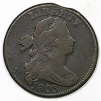 1803 S-252 R-2 SM DATE, SM FRAC DRAPED BUST LARGE CENT COIN 1C
