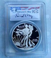 2013 PCGS MINT STATE 69 FIRST STRIKE ENHANCED SILVER EAGLE PROOF, EDMUND MOY AUTOGRAPH