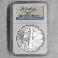 2011 S NGC MS 70 SILVER EAGLE DOLLAR, 1 OZ .999 SILVER $1 FROM 25TH ANNIV SET