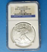 2011 NGC MS70 SILVER EAGLE DOLLAR, 1OZ .999 SILVER $1 FROM 25TH ANNIVERSARY SET