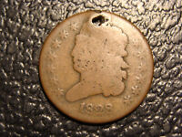 1828 CLASSIC HEAD HALF CENT HOLED WE COMBINE ON SHIPPING
