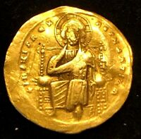 ANCIENT BYZANTINE GOLD COIN; ROMANUS III JESUS CHRIST WITH GOSPELS; 1028 1034AD