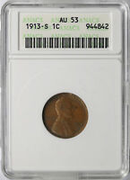 1913-S 1C LINCOLN CENT ANACS AU53