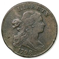 1798 S-163 R-4 DRAPED BUST LARGE CENT COIN 1C