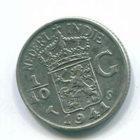 1941 NETHERLANDS EAST INDIES 1/10 GULDEN SILVER COLONIAL COIN NL135603