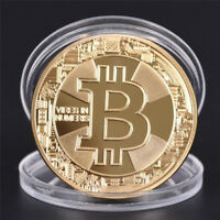BTC GOLD PLATED BITCOIN COIN COLLECTIBLE ART COLLECTION PHYSICAL GIFT JB