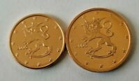 FINLAND 2005 EURO COINS 1 CENT AND 2 CENTS UNC