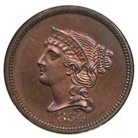 1854 J-160 NGC PF 64 RB JUDD PATTERN BRAIDED HAIR CENT COIN 1C