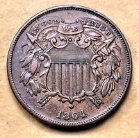 1864 SMALL MOTTO TWO CENT PIECE  AU/UNC