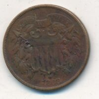1868 COPPER TWO CENT PIECE- CIRCULATED 2 CENT COIN-SHIPS FREE INV:4