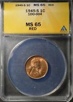 1945-S DOUBLED DIE MINT STATE 65 RD LINCOLN CENT  GEM PENNY DDO ERROR SHIPS FREE838