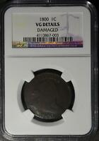 1800 LARGE CENT   GOOD 1C COPPER DRAPED BUST COPPER SHIPS FREE NGC VG