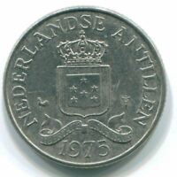 1975 NETHERLANDS ANTILLES 25 CENT NICKEL COLONIAL COIN S11606