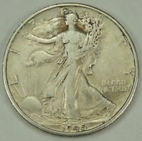 1945-D 50C WALKING LIBERTY SILVER HALF DOLLAR EXTRA FINE   052218