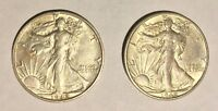 1942-S WALKING LIBERTY HALF DOLLAR - LOT OF TWO 2 COINS