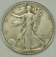 1947-D 50C WALKING LIBERTY SILVER HALF DOLLAR EXTRA FINE  TINY RIM NICK 6:00  052218