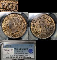 Click now to see the BUY IT NOW Price! ELITE COINS   LARGE CENT VARIETY   1859 WIDE 9/8 TRIPLE G REGINA   MS63  A004
