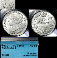 Click now to see the BUY IT NOW Price! ELITE COINS   10 CENTS   1870   NARROW TRIPLE 0 0/0/0 AU55 ONE OF FINEST  A101