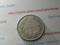 COINSHOME CIRCULATED 5 DRACHMA 1930 GREECE FOREIGN COIN LOTPS51 UNCERTIFIED
