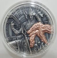 2018 2 OZ SILVER NIUE $5 HADES GODS OF OLYMPUS COIN WITH 24K