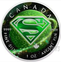 2016 1 OZ SILVER GREEN KRYPTON SUPERMAN COIN WITH BOX AND CO