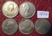 5 LARGE FORMAT 5 PENCE COINS 1969 1970 1971 1975 1988   JOB LOT 1624
