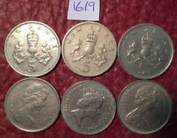 6 LARGE FORMAT 5 PENCE COINS 1968 71 1980 1988   JOB LOT 1619