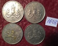 4 LARGE FORMAT 5 PENCE COINS 1970 1980 1988 1989   JOB LOT 1618