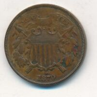 1870 TWO CENT PIECE-EXCELLENT TYPE COIN-LIGHTLY CIRCULATED 2 CENT-SHIPS FREE