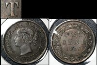 SUMMER SALE   CANADA LARGE CENT   1859 REPUNCHED T IN CENT   EF  R023
