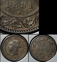 SUMMER SALE   CANADA LARGE CENT   1881H SINGLE DIE CLASH   VF  R045