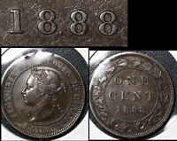 SUMMER SALE   CANADA LARGE CENT 1888 MIDDLE BEAD PUNCH 8   VF   R073