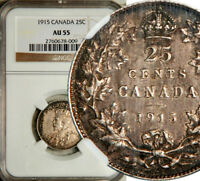 NGC AU 55 CANADA SILVER 25 CENTS 1915  KEY DATE