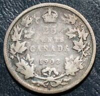 1902 H CANADA TWENTY FIVE 25 CENT EDWARD VII STERLING SILVER QUARTER COIN