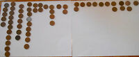 LOT OF 58 CANADIAN ONE CENT COINS ALL MAPLE LEAF 1961 1991